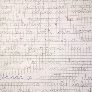 """Manoscritto originale (in bella) della storia """"Amici per la pelle"""" : 8 anni"""