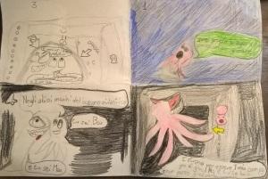 """Prima stesura a fumetti del racconto """"Amici per la pelle"""" : 8 anni"""
